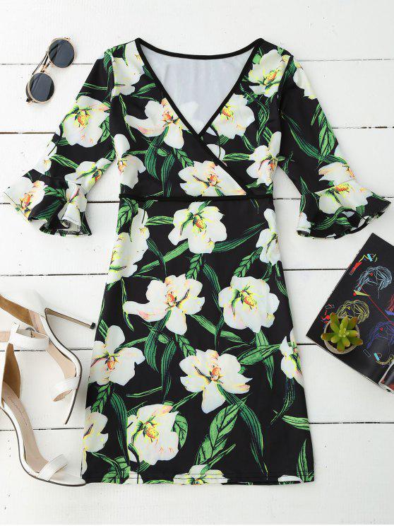 V Neck Floral Flare Sleeve Dress - Floral L