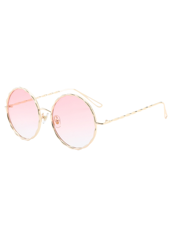 b82f40ceda1 19% OFF  2019 Wavy Metallic Frame Leg Ombre Round Sunglasses In PINK ...