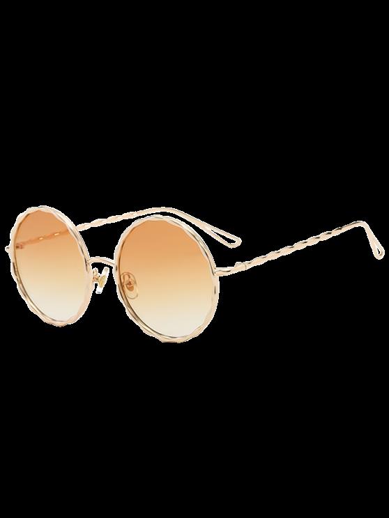 Wave Metallic Frame Bein Farbverlauf runde Sonnenbrille - Hellgelb