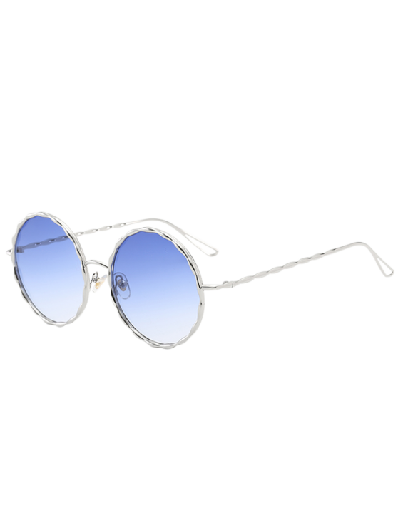 women Wavy Metallic Frame Leg Ombre Round Sunglasses - LIGHT BLUE