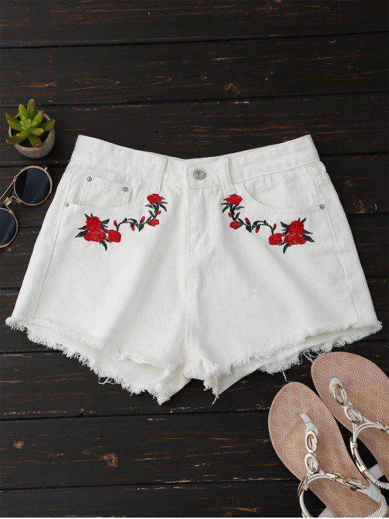 women Frayed Floral Embroidered Cutoffs - WHITE XL