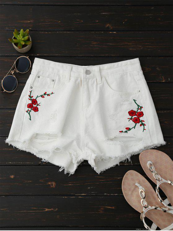fancy Embroidered Flower Ripped Hot Denim Shorts - WHITE M