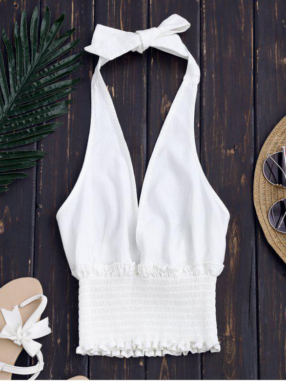 Rückenfreies Halter Top mit gefalteter Taille - Weiß S