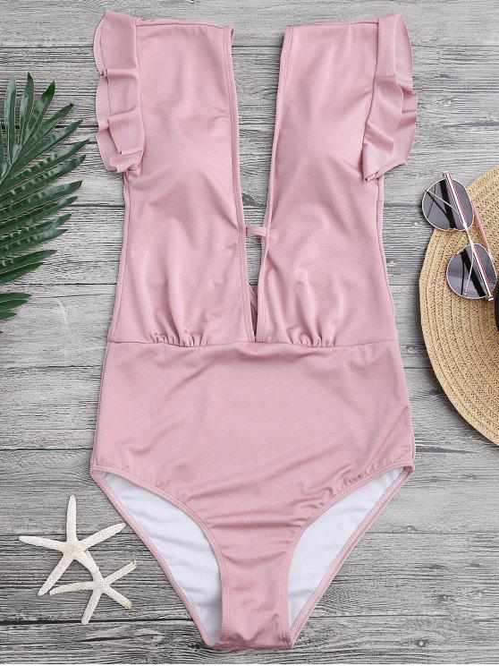 Frilled Plunge One Piece Swimsuit - Pink L