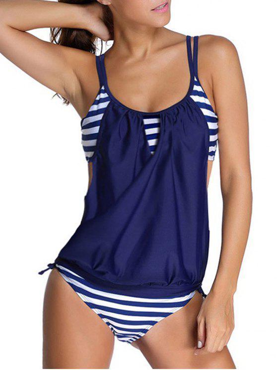 best Striped Spaghetti Strap Blouson Tankini Bathing Suits - DEEP BLUE XL