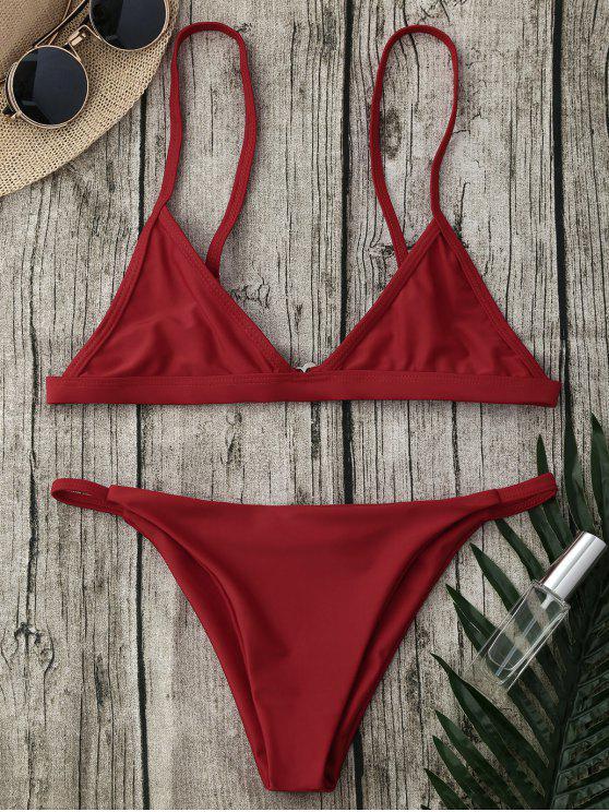 Ensemble Bikini avec Bretelles Spaghetti et Culotte Tango - Rouge M