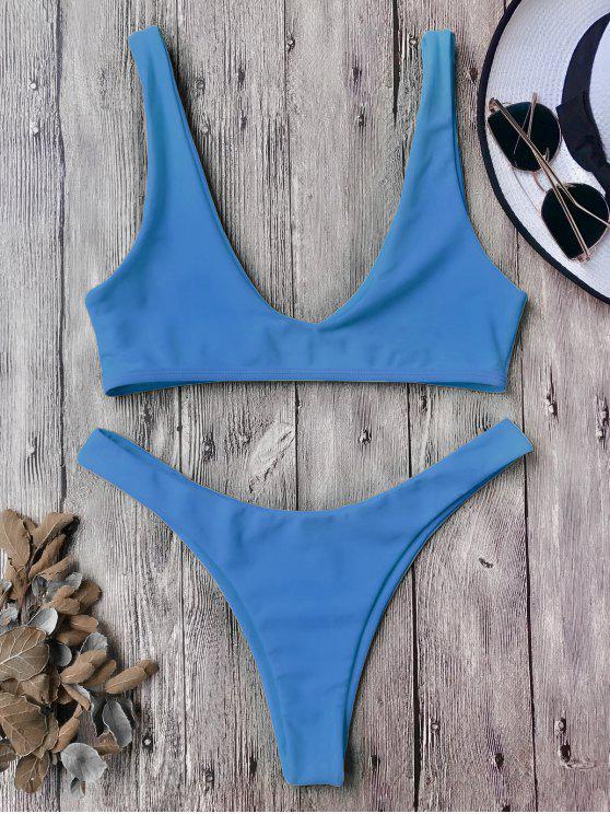 Traje de Bikini con Escote en U con Tiro Alto - Azul L