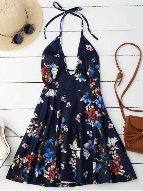 best Halter Plunge Backless Floral Dress - DEEP BLUE M
