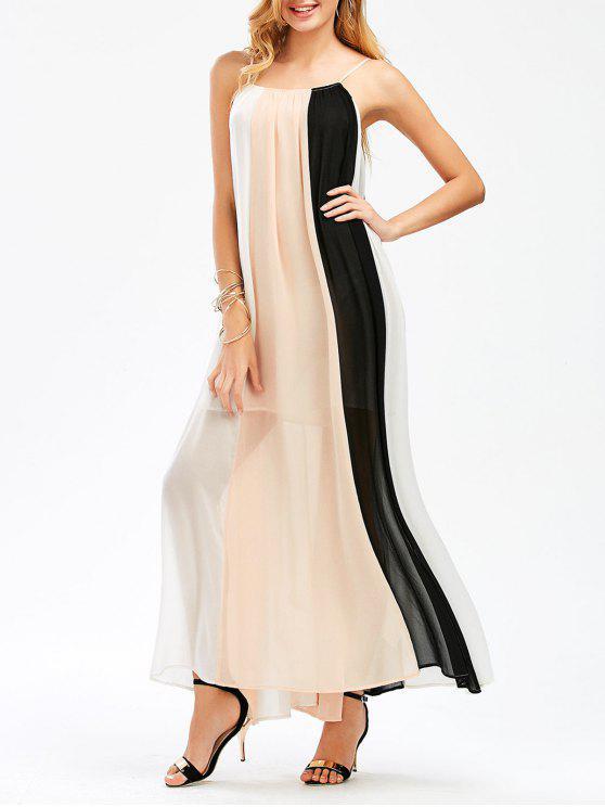 Bloque de color que fluye Maxi Slip Dress - Colormix XL