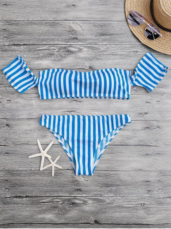 women Padded Off The Shoulder Bikini Set - BLUE AND WHITE L