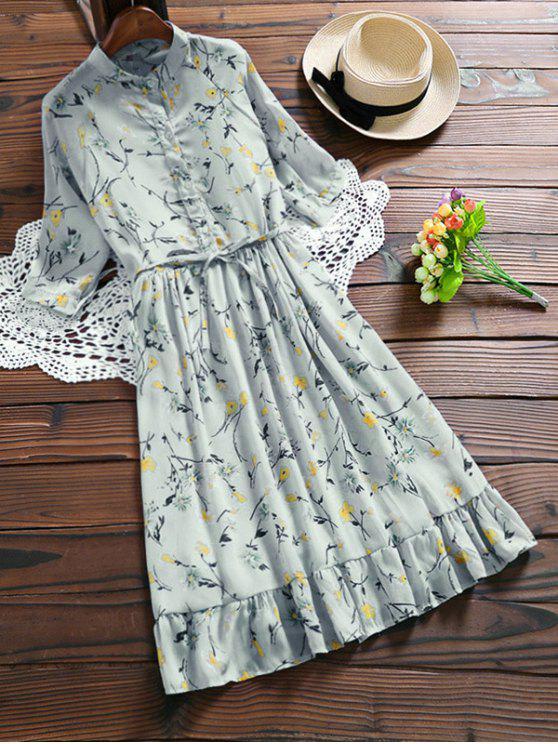 fancy Chiffon Floral Buttoned Ruffle Dress With Belt - LIGHT BLUE XL