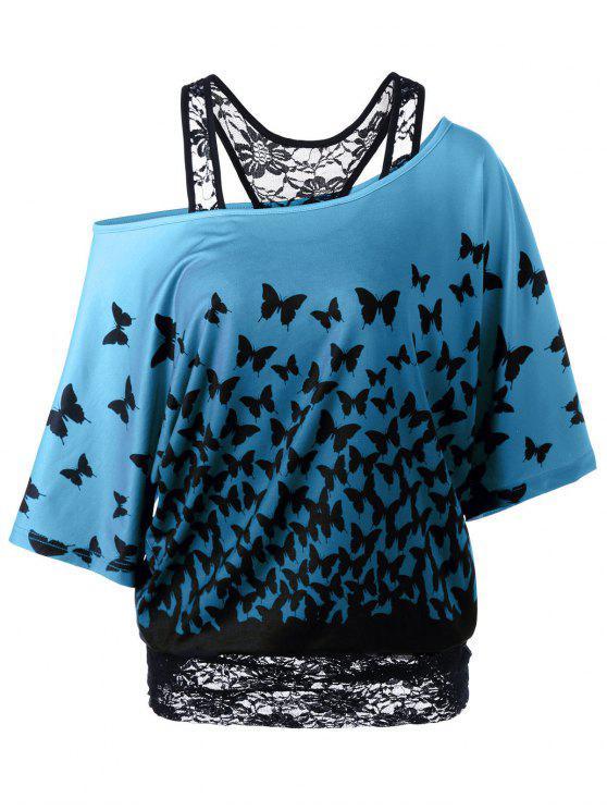 T-Shirt à Motif Papillon à Encolure Cloutée Dos Coureux - Pers XL