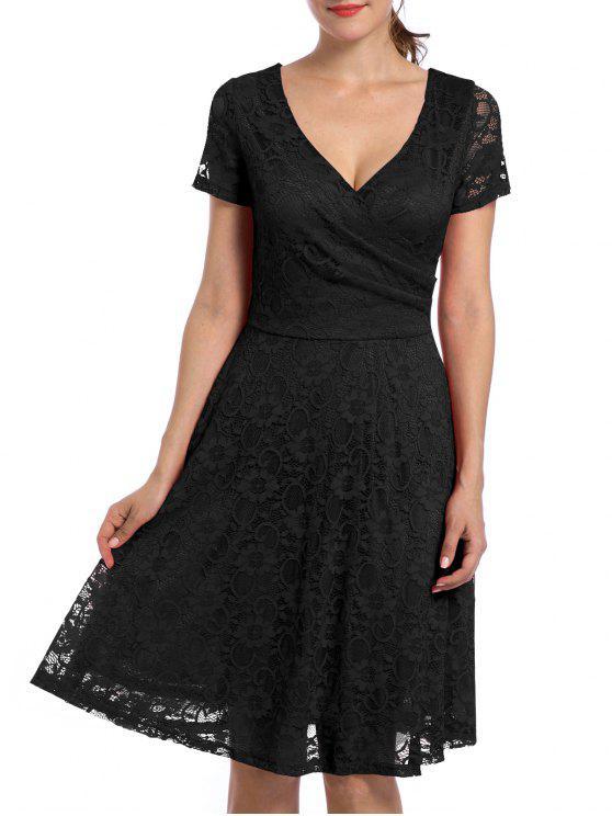 فستان السهرة دانتيل عالية الخصر كهنوتي - أسود L