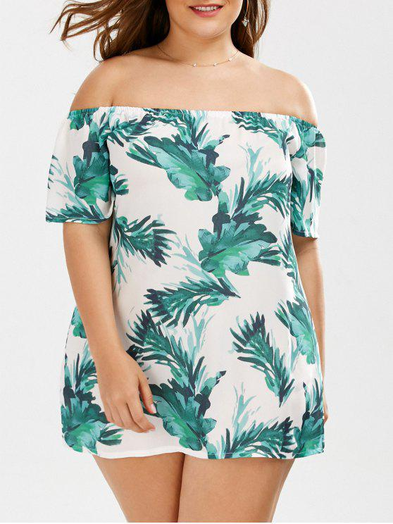 womens Plus Size Leaf Tropical Printed Off The Shoulder Top - GREEN 2XL