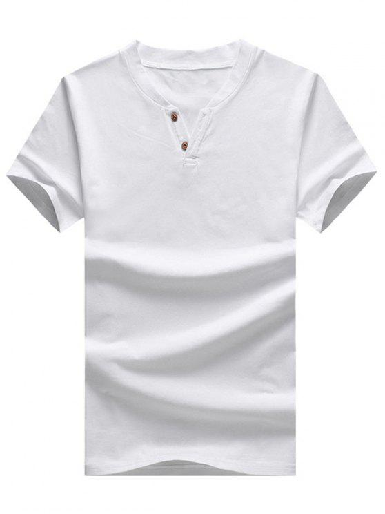 6804f9ff9a622 21% OFF  2019 Two Button Notch Collar T-Shirt In WHITE