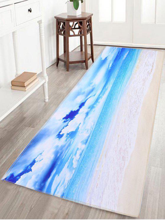 عرض البحر طباعة امتصاص الماء سكيدبروف الحمام البساط - السماء الزرقاء W16 بوصة * L47 بوصة