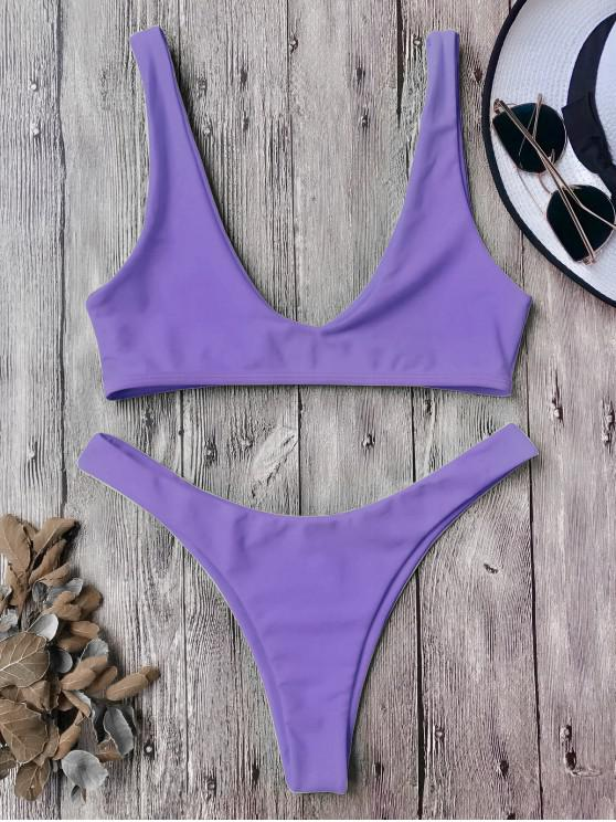 fancy High Cut Bikini Set - PURPLE L
