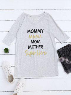 Loose Mom Print Longline Shift T-Shirt - Light Gray M