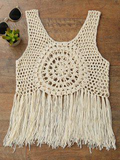 Tassels Crochet Cover Up Top - Beige M