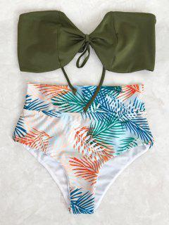 Tropical Bandeau High Waisted Bikini Set - Leaf M