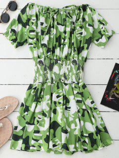 Off Shoulder Camo Smocked Waist Dress - Green