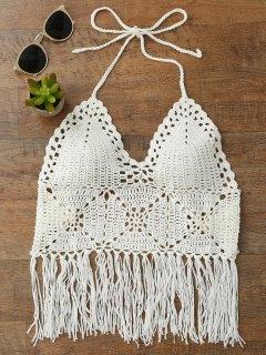 Top En Bikini En Brosse à Crochet - Blanc