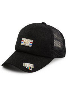 Tiny Rectangle Metal Numbers Patchwork Baseball Hat - Black
