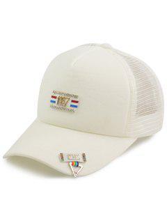 Pequeños Números Rectangulares De Metal Patchwork Hat De Béisbol - Blanco
