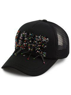 Multicolor Beads Letter Love Embellished Baseball Cap - Black