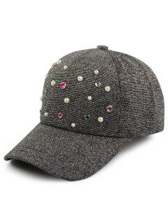 Faux Pearl Multicolor Beaded Cannetille Baseball Hat - Black Grey