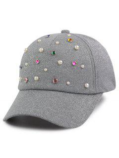 Faux Pearl Multicolor Beaded Cannetille Baseball Hat - Gray