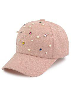Faux Pearl Multicolor Beaded Cannetille Baseball Hat - Pink