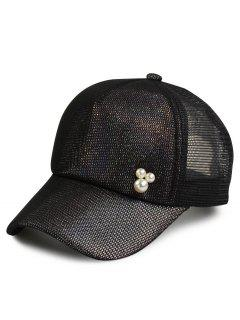 Faux Pearl Mesh Spliced Twinkling Baseball Hat - Black