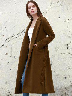 Lapel Solid Color Long Overcoat - Camel L