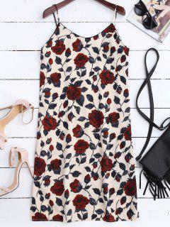 Slit Floral Casual Slip Dress - Floral L