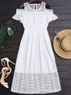 Cold Shoulder Midi Crochet Lace Dress - White L