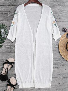 Slit Floral Embroidered Longline Cover Up - White