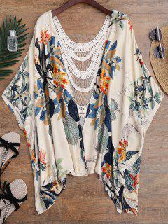 Kimono Floral De Panel De Ganchillo Cubrir - Floral