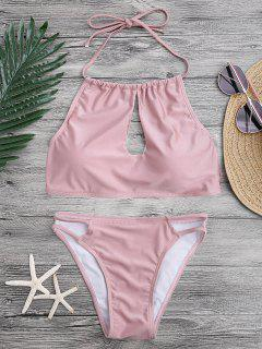 Keyhole Cut Out Halter Bikini Set - Pink M