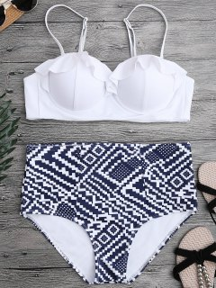 Ruffled Patterned Underwire High Waisted Bikini - White M