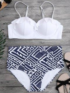 Rüschen Muster Bikini Mit Hoher Taille Und Felgen - Weiß S