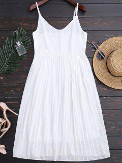 Vestido Plisado De Tirante Fino De Playa De Gasa - Blanco L