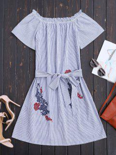 Belted Off The Shoulder Casual Dress - Stripe S
