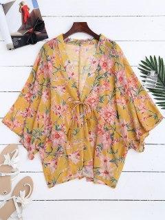Veste De Kimono à Motif Floral à Cordon De Serrage - Jaune M