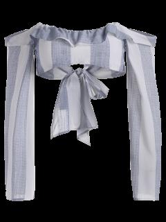 Long Flare Sleeve Tie Front Crop Top - Stripe L