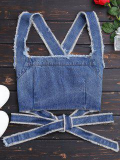 Bowknot Criss Cross Denim Crop Top - Denim Bleu M