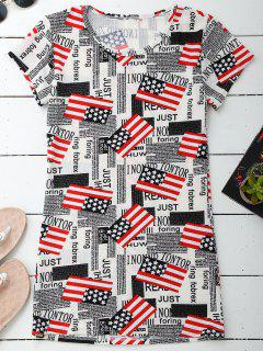 Graphic Patriotic American Flag T-Shirt Dress - 2xl