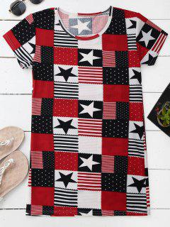 Patchwork Print Patriotisches Amerikanisches Flaggen-T-Shirt Kleid - L