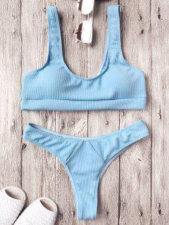 Ribbed Midi Bralette Bikini Set - Light Blue L