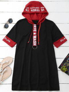Drawstring Hooded Graphic T-Shirt Dress - Black L